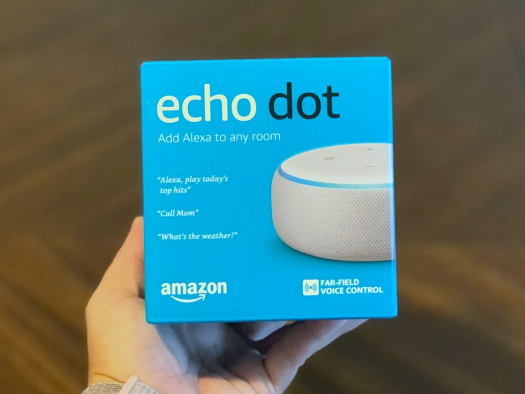 hand holding sandstorm white amazon echo dot