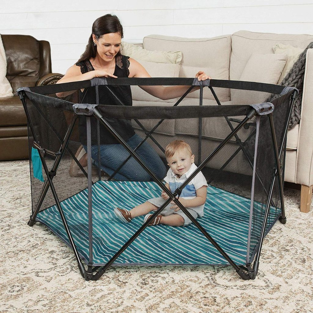 This portable playard measures 49×28 inches and has an easy to set up and  take down design! It includes a carrying bag and has a nylon floor to make  ... 02633e4f21