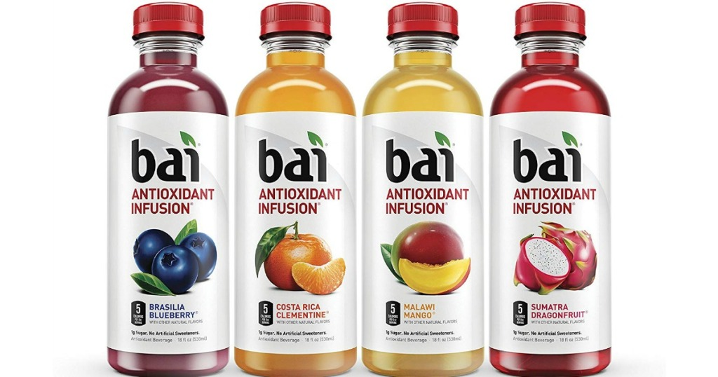 four bottles of bai antioxidant infusion flavored water