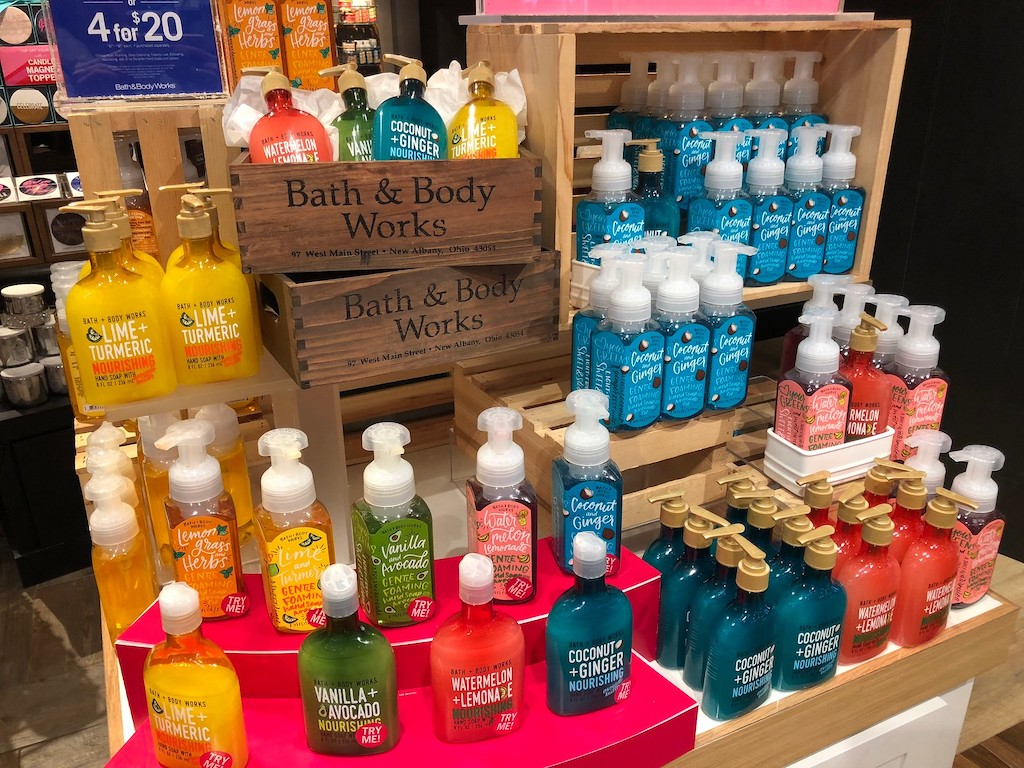 Bath & Body Works display of hand soaps