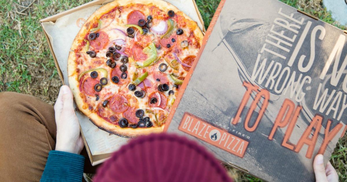 Blaze pizza in an open pizza box