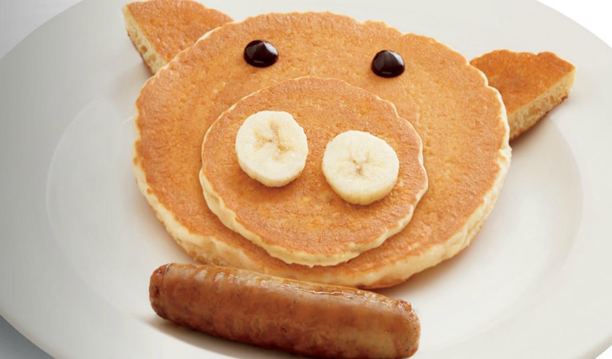 Bob Evans kids eat free pig pancake