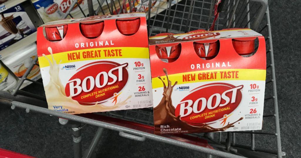 Boost nutritional drink in basket