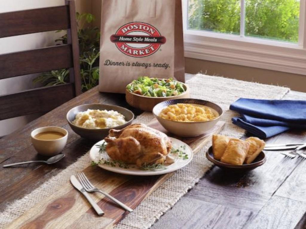 Boston Market meal on kitchen table