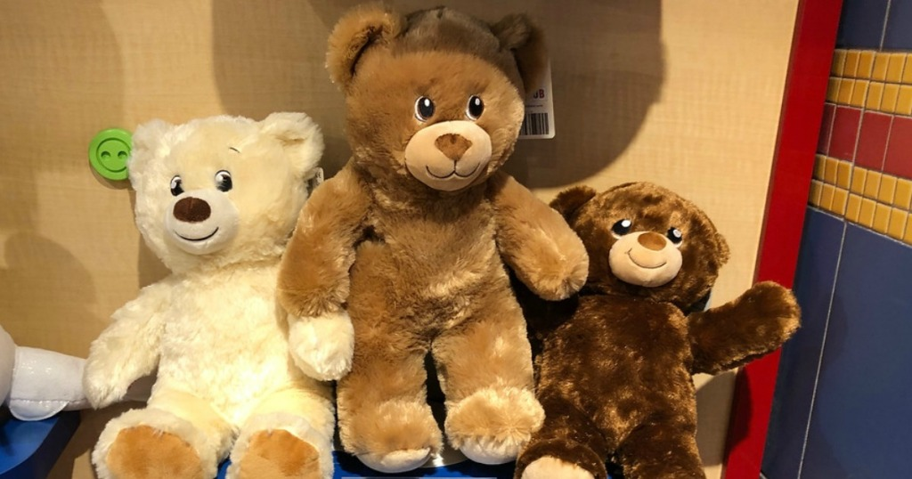 Build-A-Bear Bears sitting on shelf