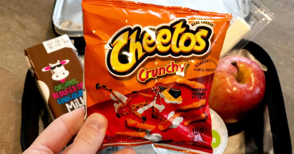 cheetos mini bag going into a lunchbox