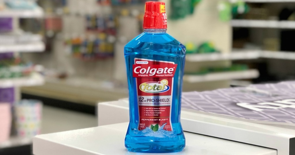 Colgate mouthwash on counter
