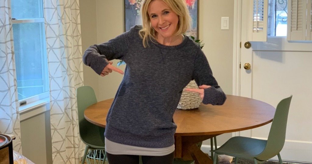 Collin wearing Women's Tek Gear Sweatshirt