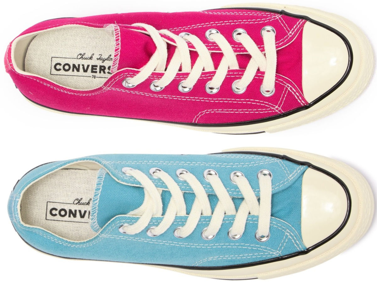 pink and blue Chuck Converse shoes
