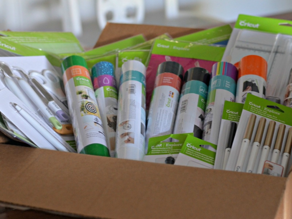 Cricut Tools and Accessories in cardboard box