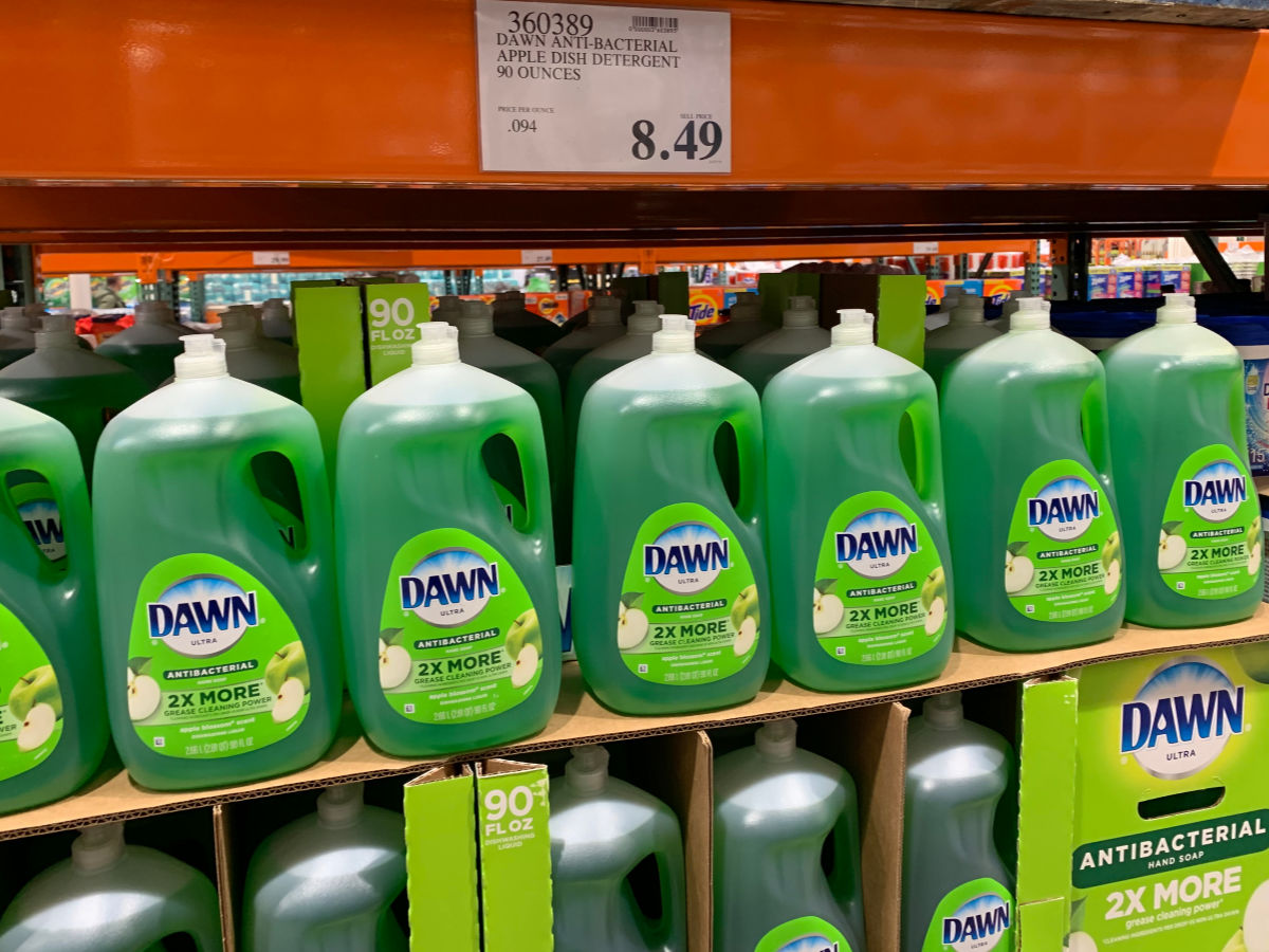 a shelf of dawn anti-bacterial dish soap in apple blossom scent at Costco