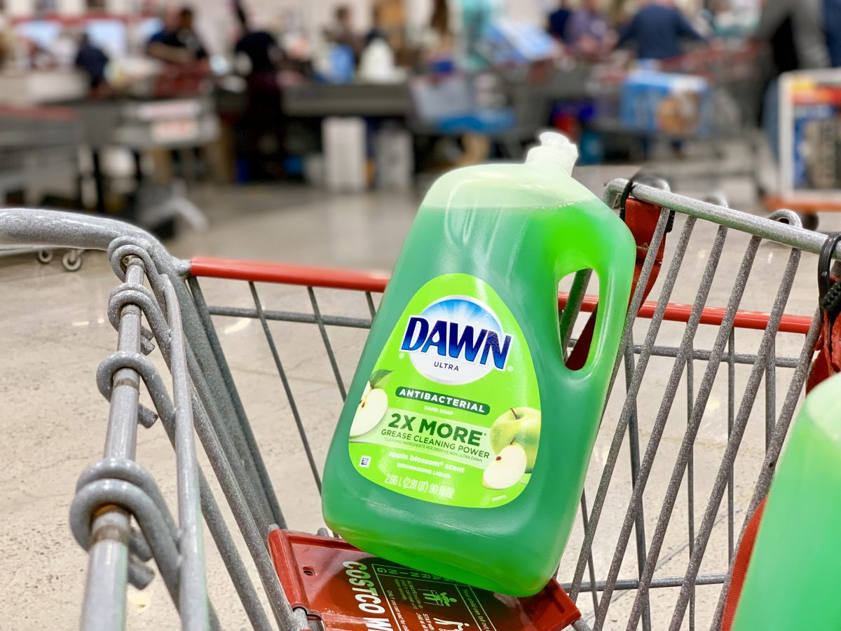 Dawn Antibacterial dish soap 90 ounce bottle in a shopping cart