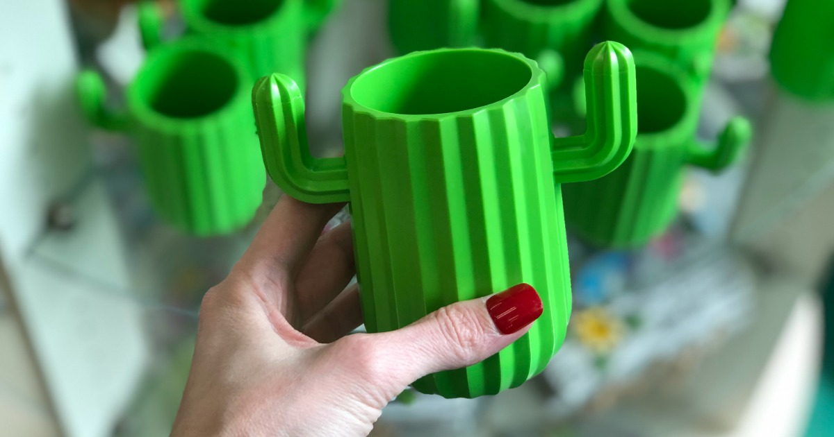 a bright green cactus cup at Dollar Tree