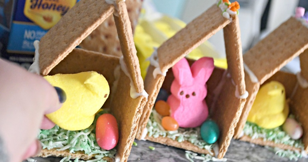 Easter Peeps Houses on a Tray