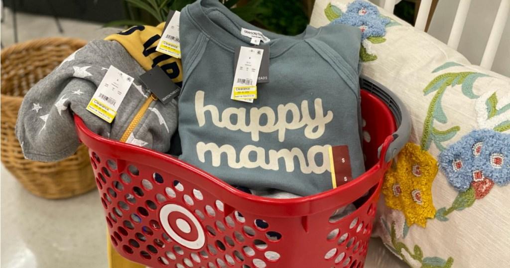 Happy Mama Sweatshirt in Target basket