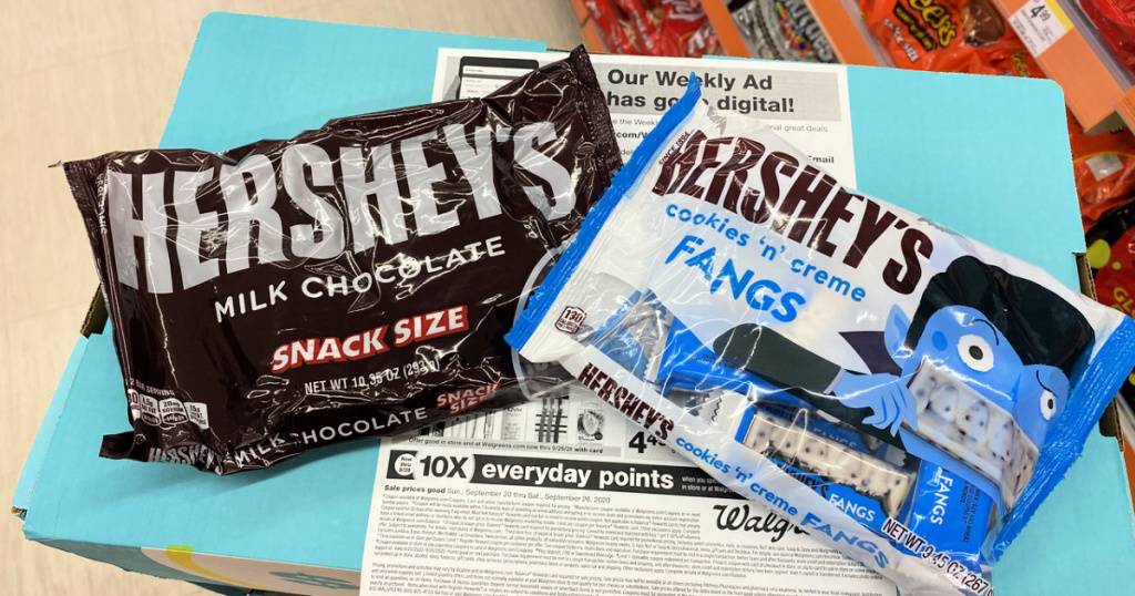 Hershey's snack size bags of candy in store