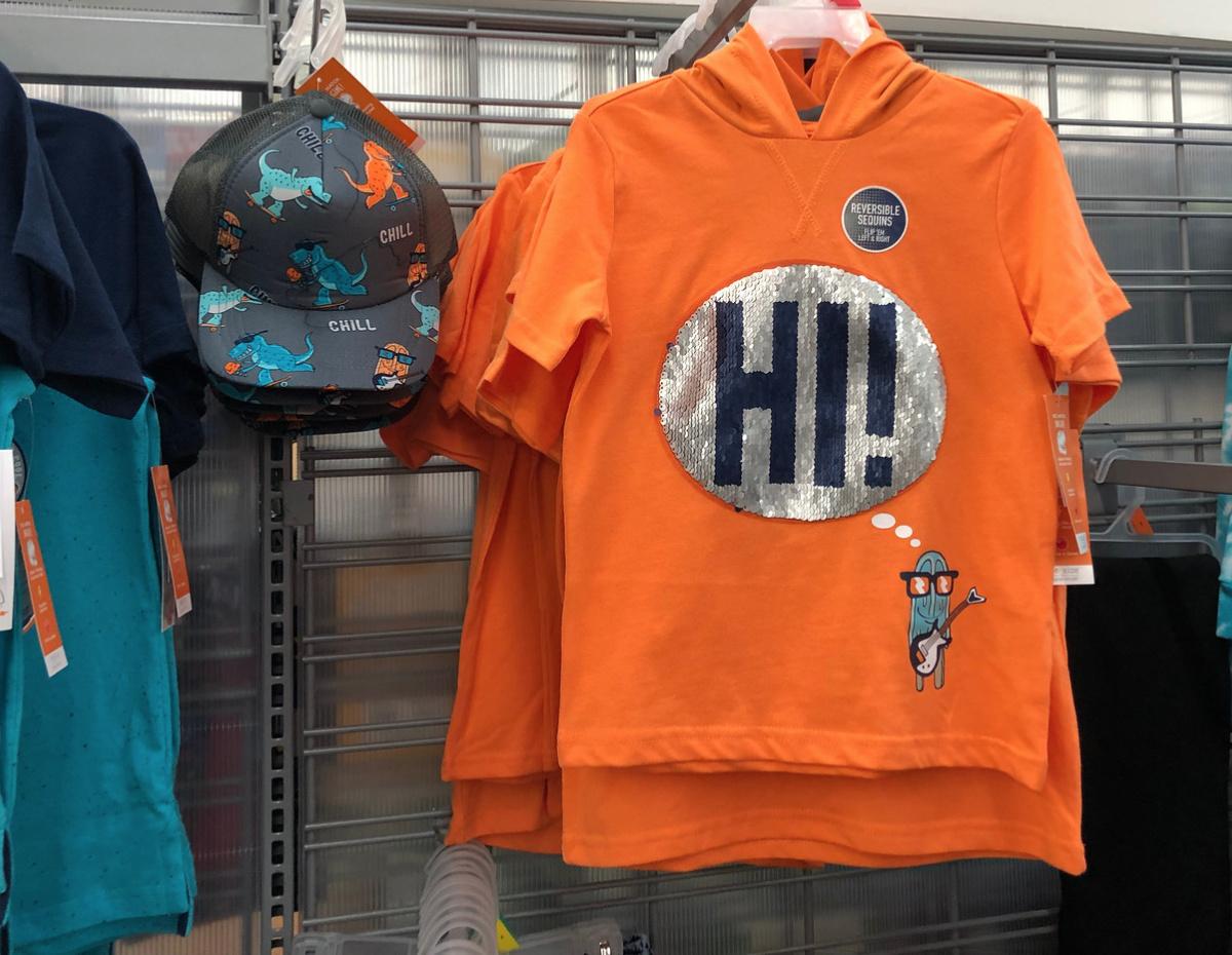 "NEW Boys Garanimals 365 Kids /""Hi Bye/"" Reversible Sequins Hooded Shirt"