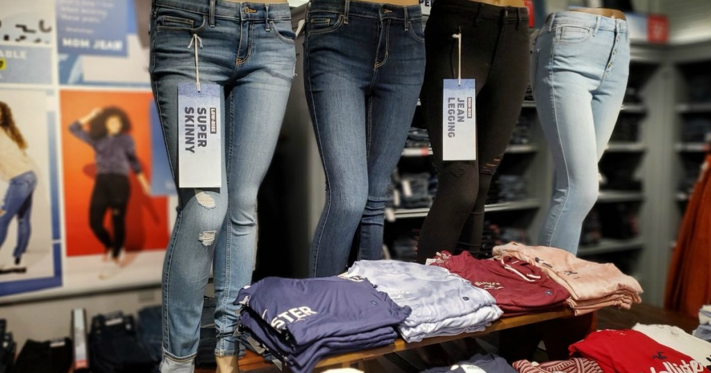 womens jeans on mannequins in a store