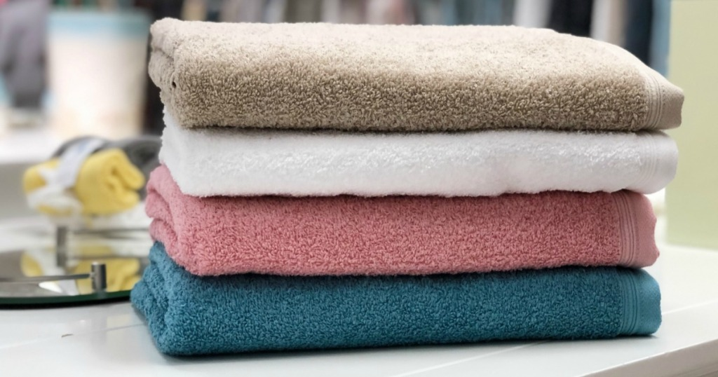 Home Expressions Solid Bath Towels folded in store