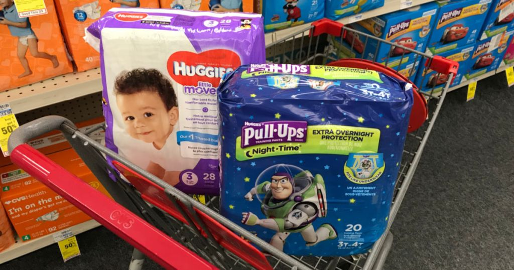 Huggies diapers and pull-ups in cart