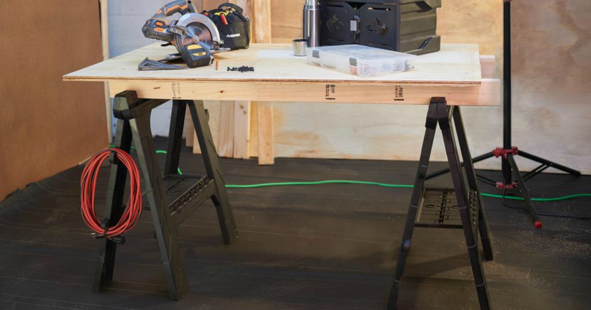 Husky Folding Sawhorse 2 Pack Just 19 88 At Home Depot