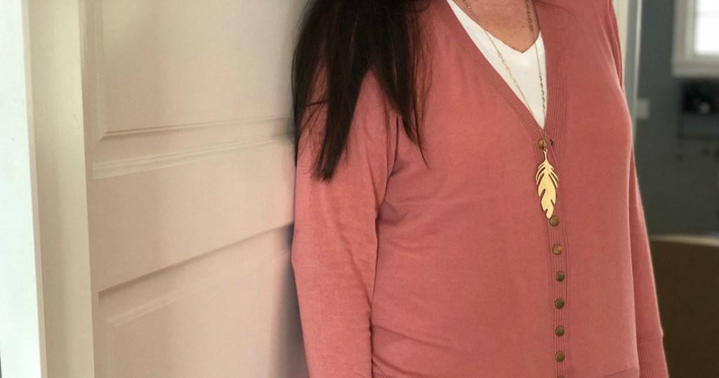 woman wearing cardigan