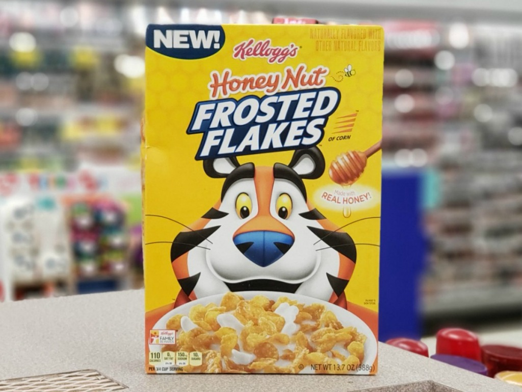 box of Kellogg's Frosted flakes on counter