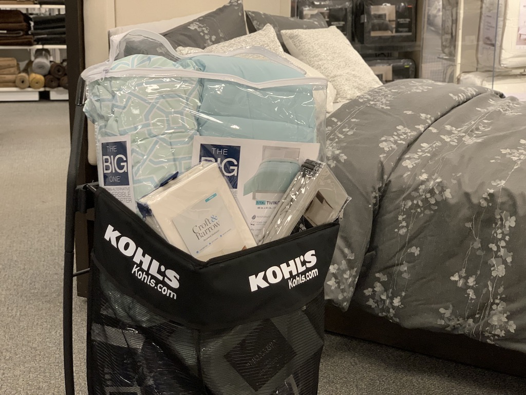 Kohl's shopping cart with bedding