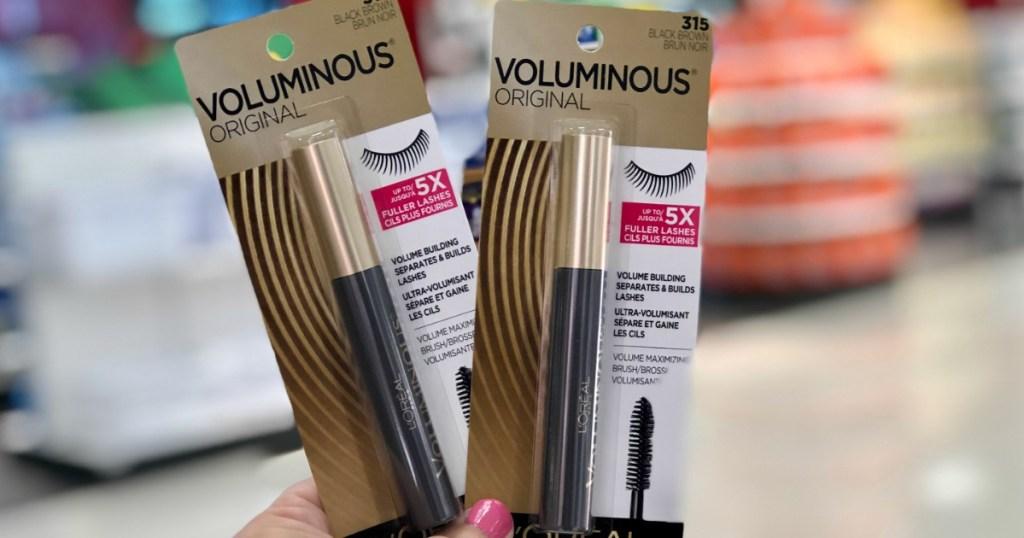 L'Oreal Voluminous Mascaras in hand