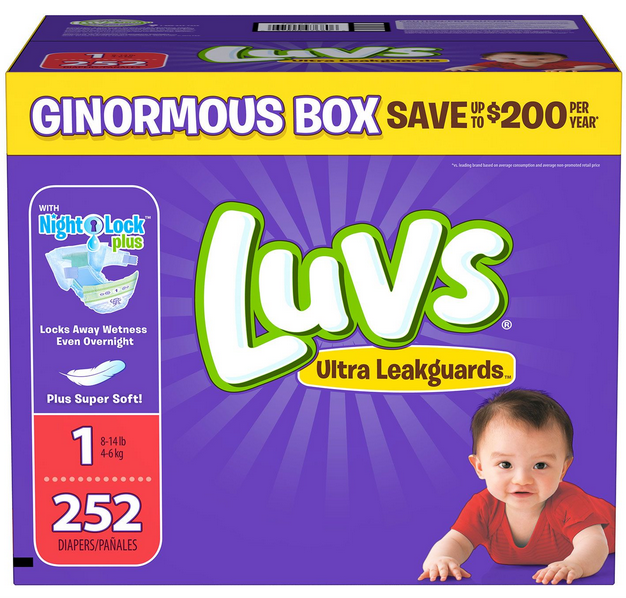ginormous box of LUVS diapers