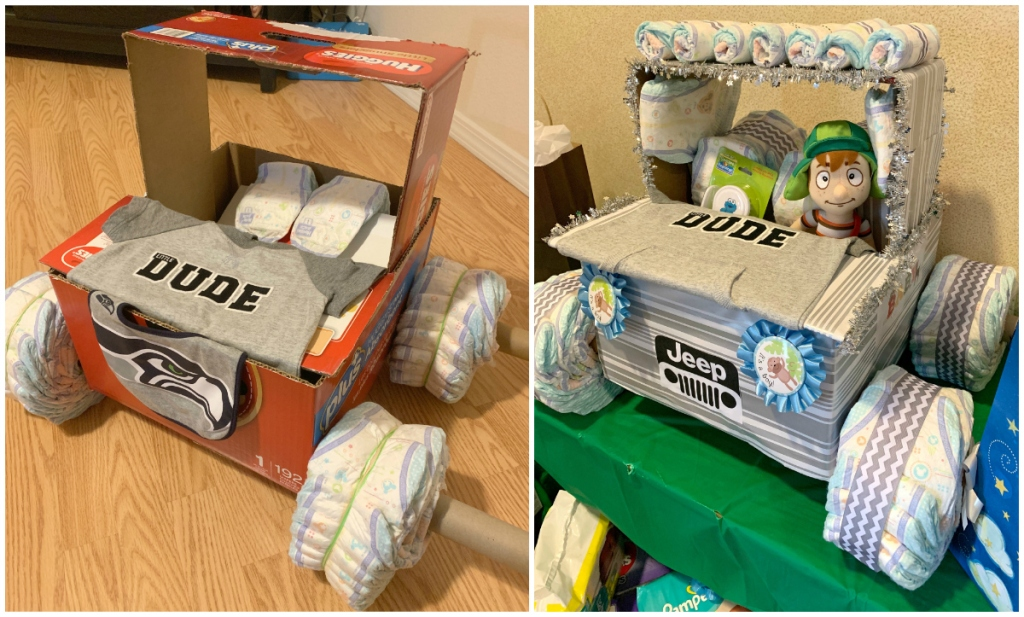 Making a Diaper Truck for Baby Shower
