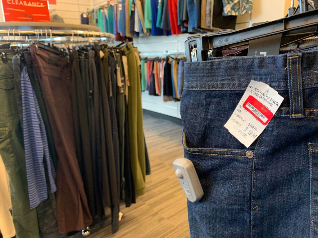 racks of mens jeans in nordstrom