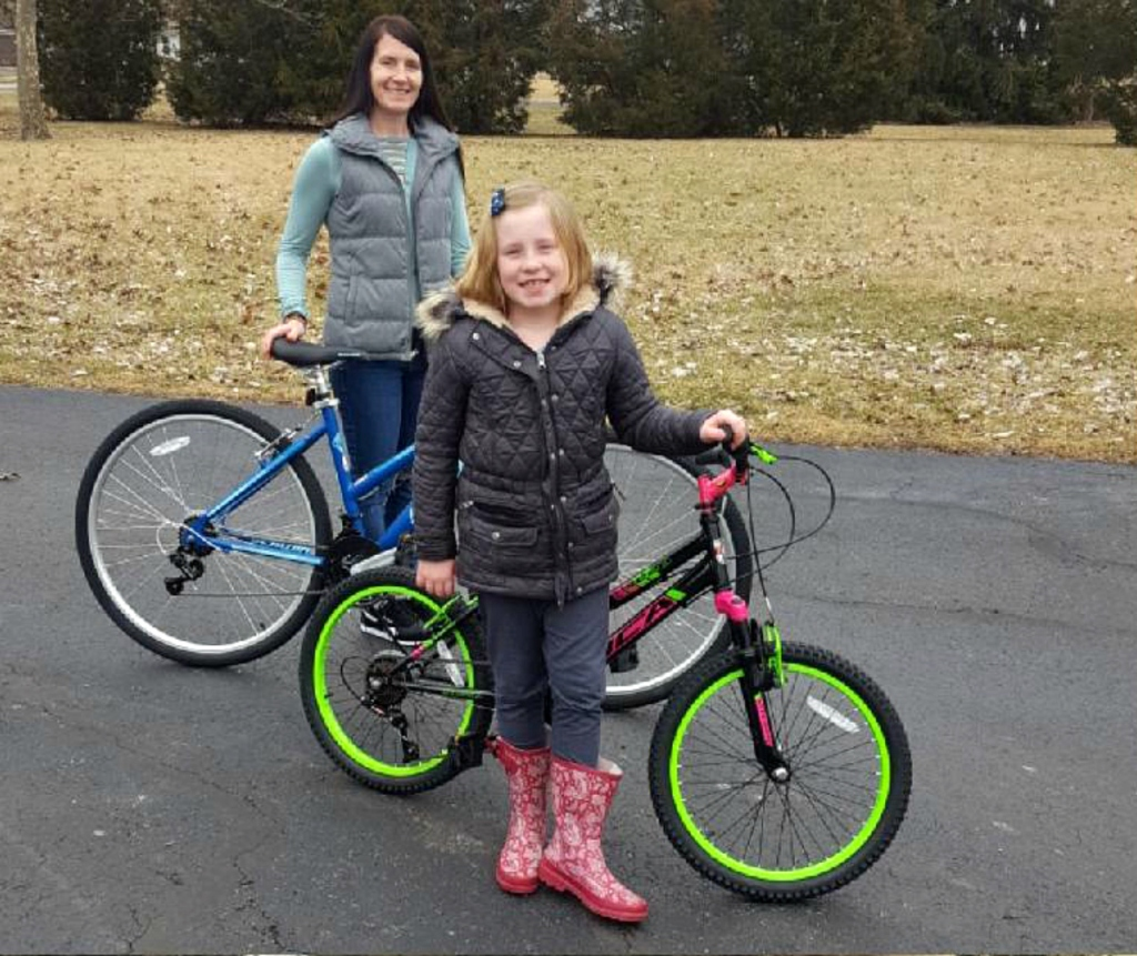 Mom daughter with Walmart bikes