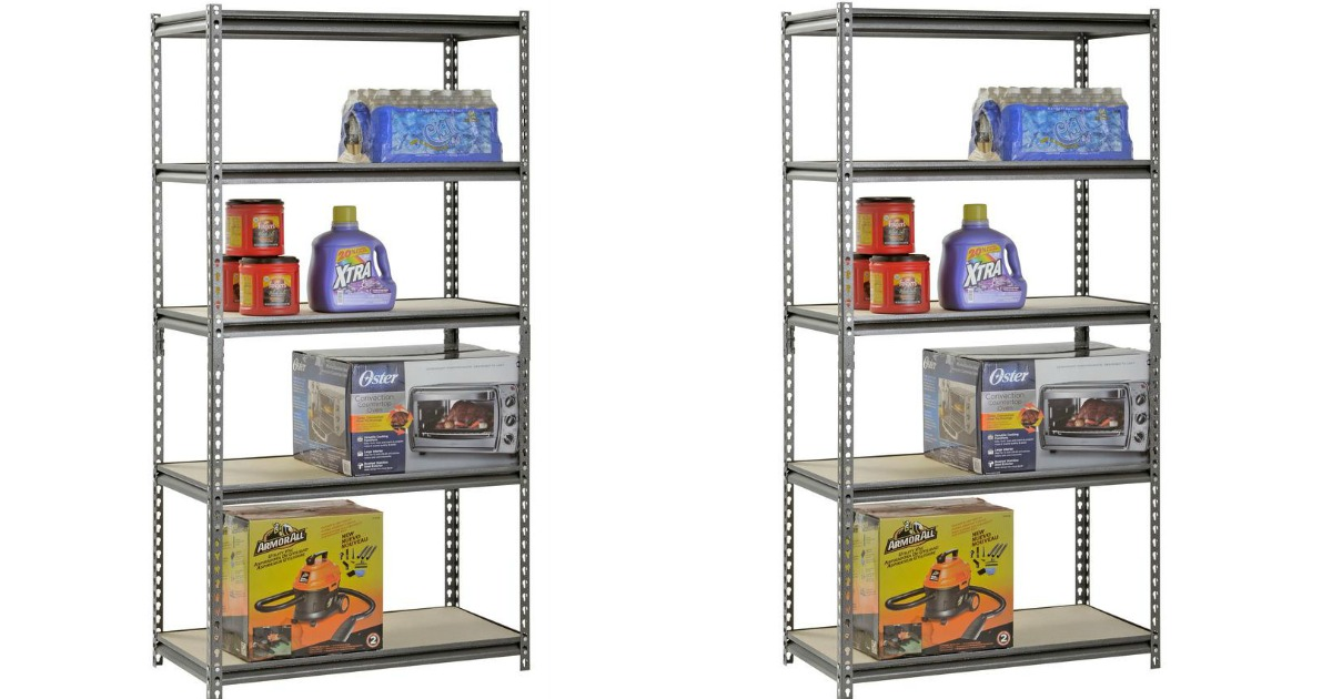 Muscle Rack Shelving units with water bottles, coffee, laundry detergent, toaster over and car vacuum