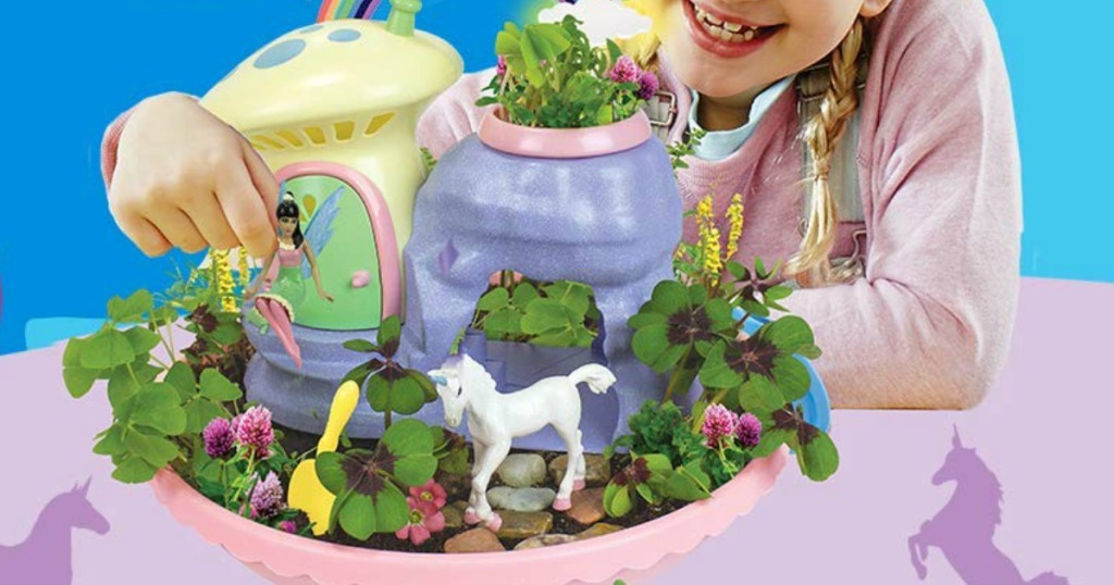 girl playing with My Fairy Garden Unicorn Paradise