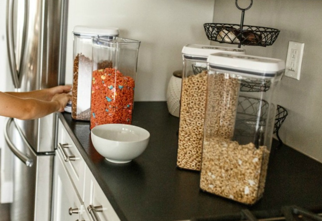 OXO containers on counter with cereals inside