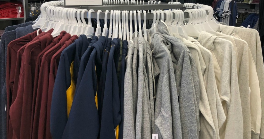 round rack filled with old navy hoodies and sweatshirts