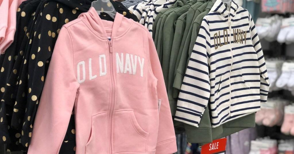 Pink old navy girls zip up hoodie