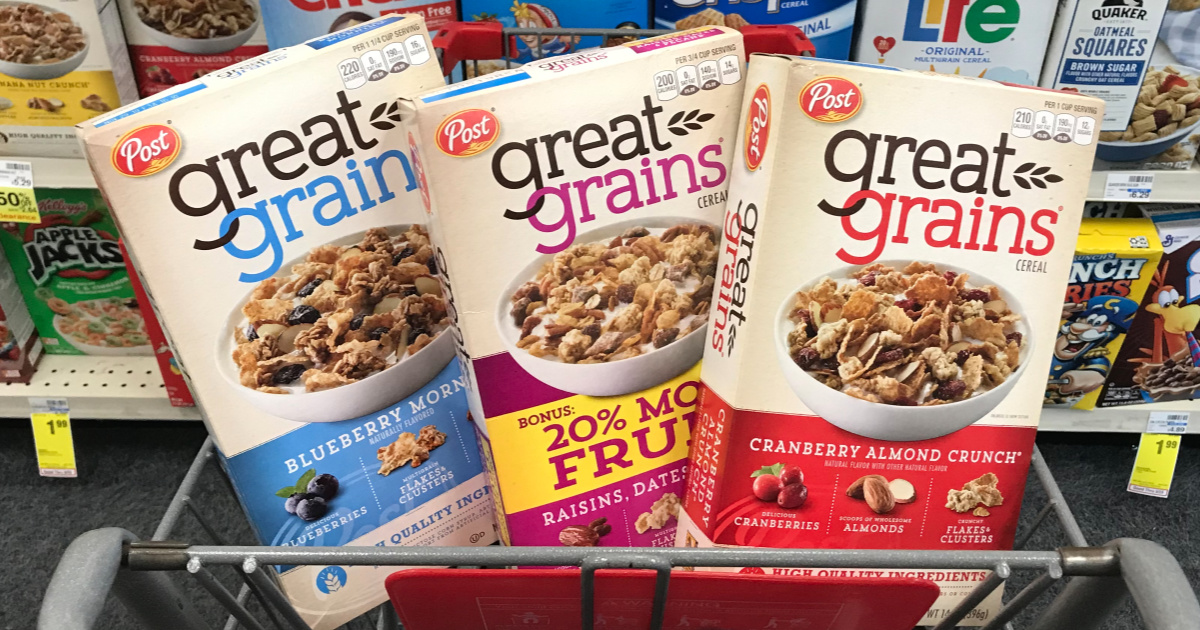 photograph regarding Post Cereal Printable Coupons named Write-up Wonderful Grains Cereal Basically 99¢ Just about every Right after Dollars Back again at CVS