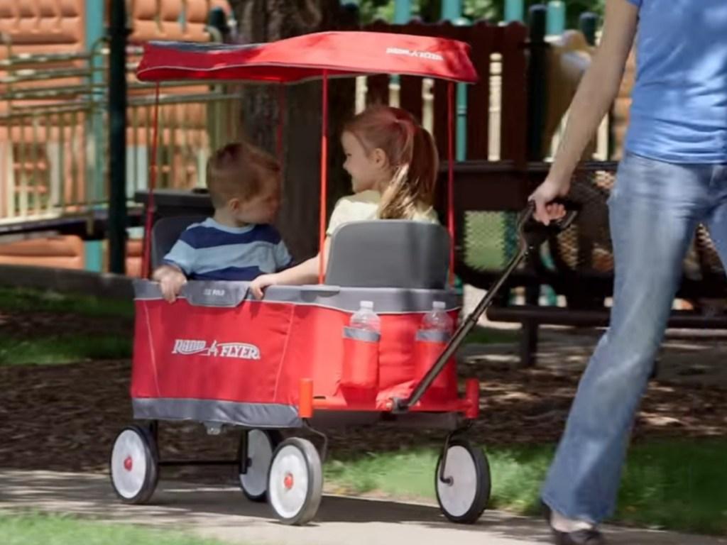 Kids in Radio Flyer Wagon
