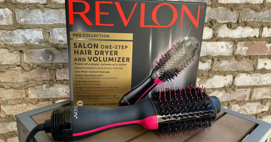 Revlon Hair Dryer out of box in front of box and brick wall