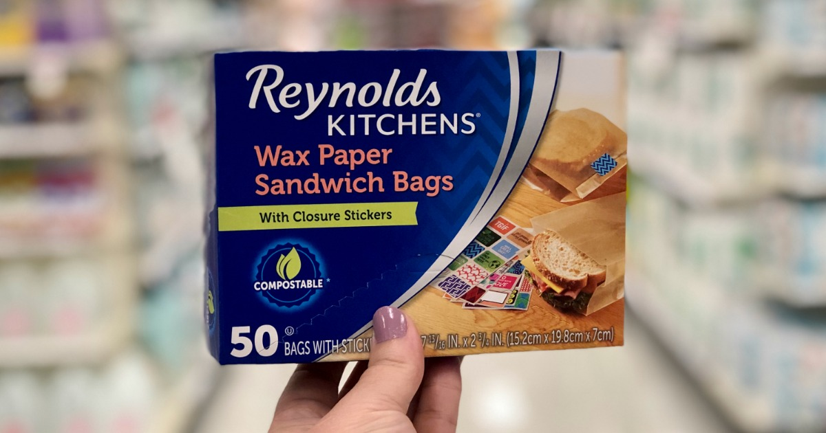 Hand holding up Reynolds Wax Paper Sandwich Bags