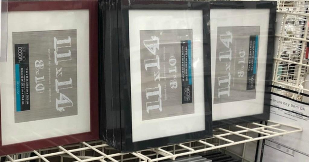 shelf full of frames at Michaels