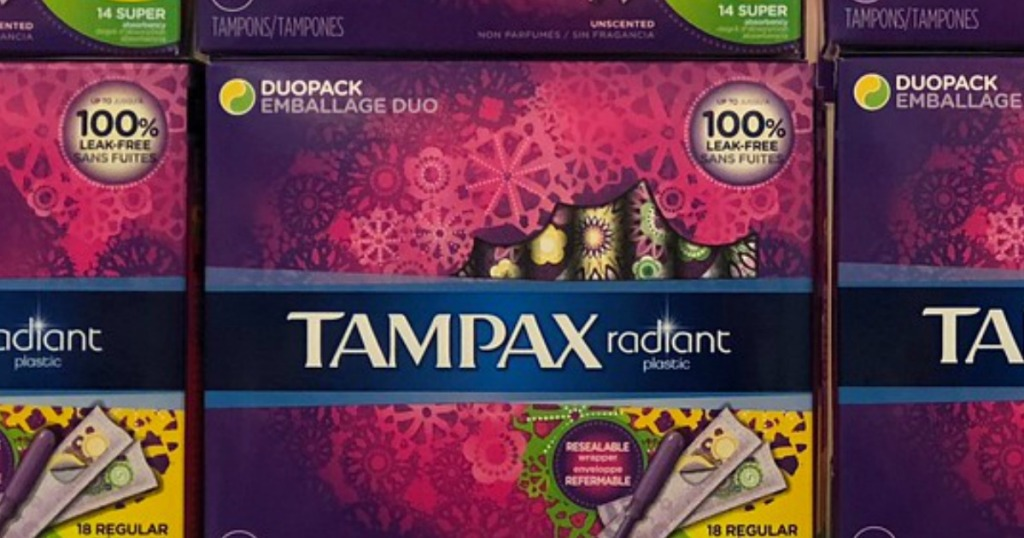 Tampax Randiant Duopack Tampons boxes, on a shelf in a store