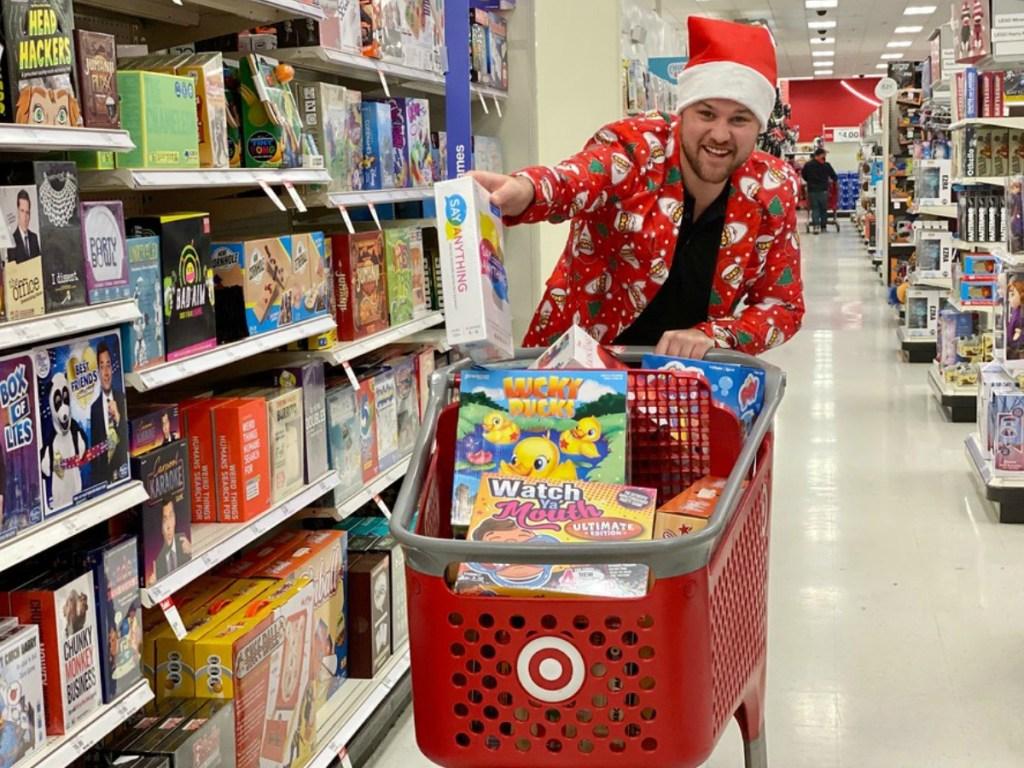 man in Santa hat at Target