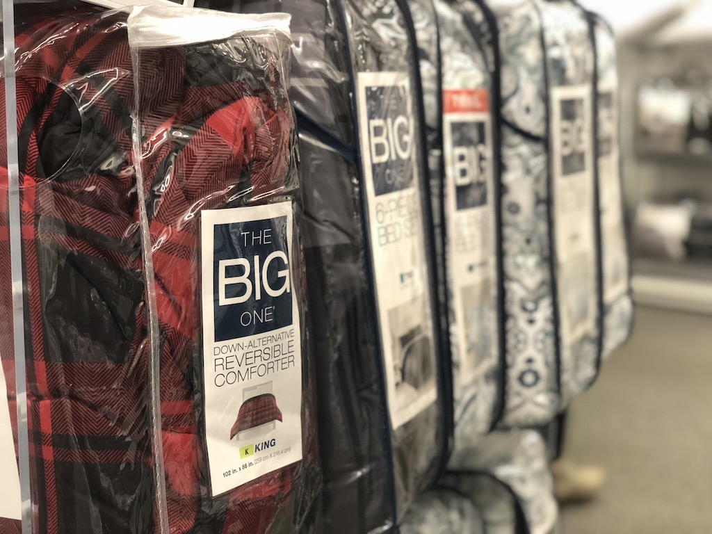 Store display of The Big One Comforters at Kohl's