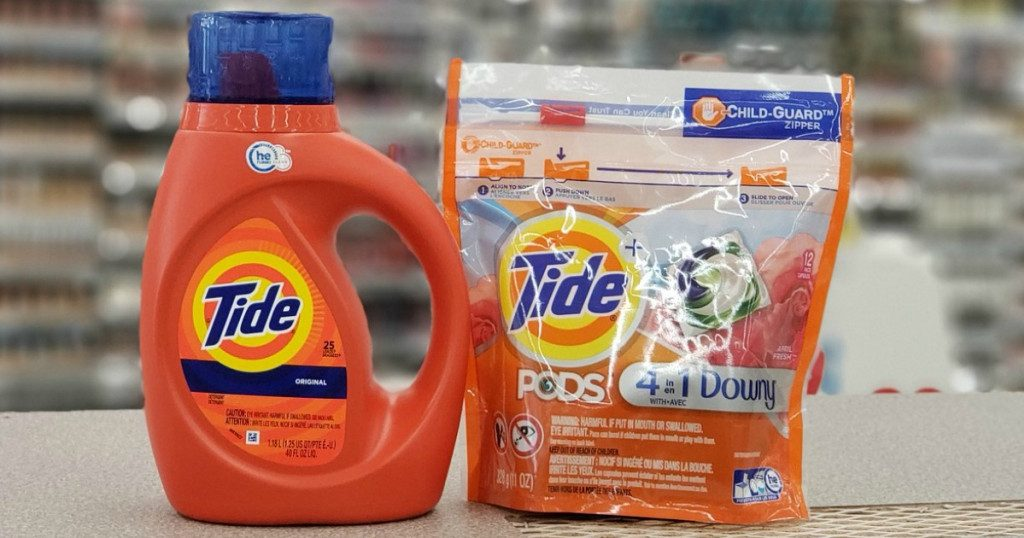 Tide laundry detergent bottle and bag of Pods