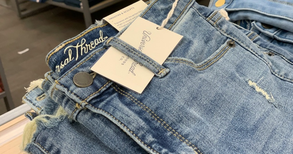 pair of folded jeans
