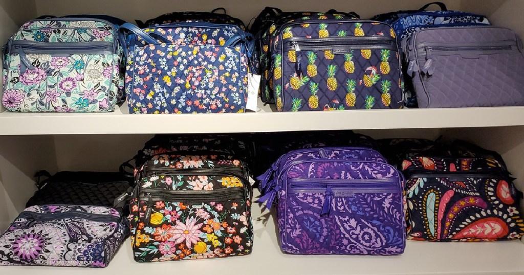 Vera Bradley bags on a shelf