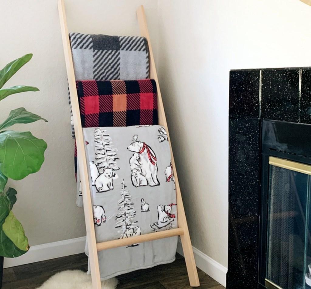 Plush blankets on blanket rack